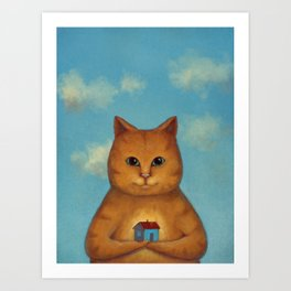 Every Cat need a Home. Ginger Cat Illustration Art Print