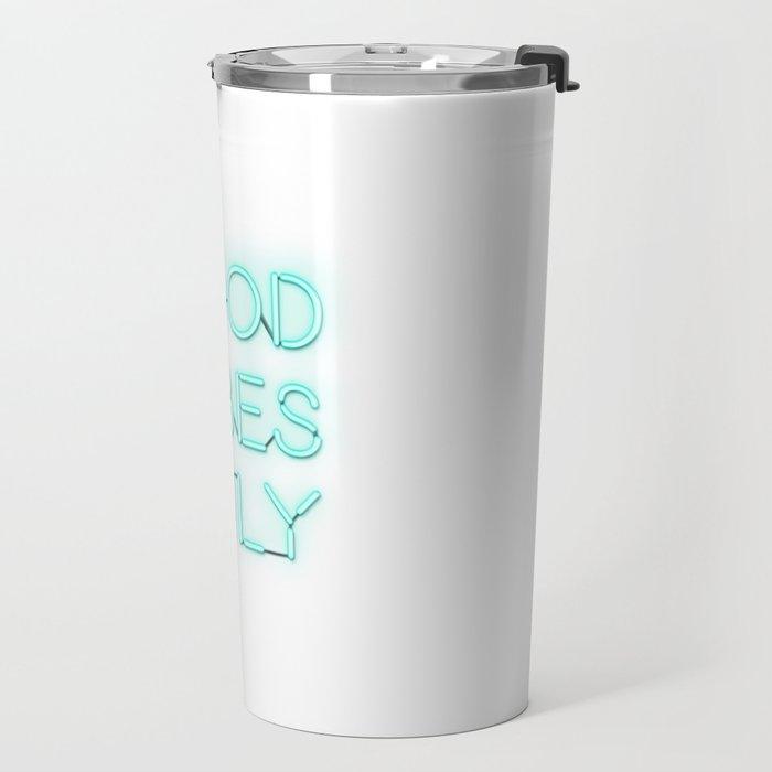 Neon Good Vibes - Teal Travel Mug