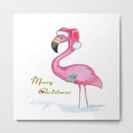 Flamingo Merry Christmas Metal Print