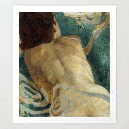 Backlite Nude Figure Oil painting Turquoise of Woman Art Print