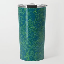 Clockwork Turquoise & Lime / Cogs and clockwork parts lineart pattern Travel Mug
