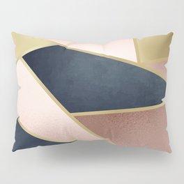 Rose Gold, Pink and Navy Blue Modern Geometric Pattern Pillow Sham