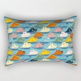 Happy Hippo Family Rectangular Pillow