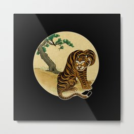 Tiger with magpie type-B : Minhwa-Korean traditional/folk art Metal Print