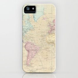 Vintage Map of The World (1862) iPhone Case