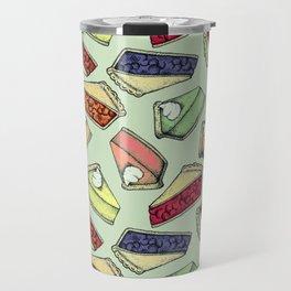 Easy As Pie - cute hand drawn illustrations of pie on sage green Travel Mug