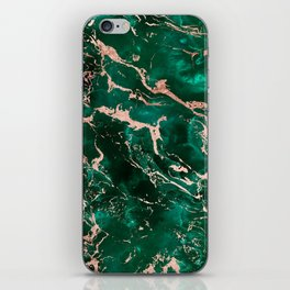 Modern rose gold marble green emerald watercolor pattern iPhone Skin
