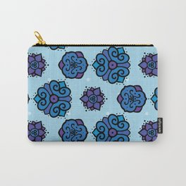 Indigo Images - repeating, symmetrical pattern - blue purple  Carry-All Pouch