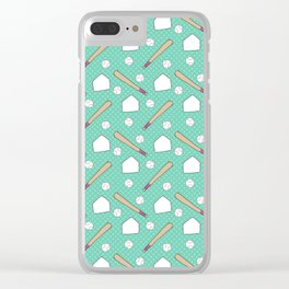 Boy baseball pattern on a teal background Clear iPhone Case