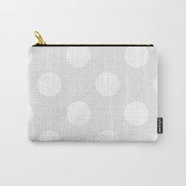 Large Polka Dots - White on Pale Gray Carry-All Pouch