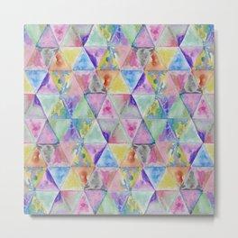 Geometric watercolor hand paint triangles pattern Metal Print