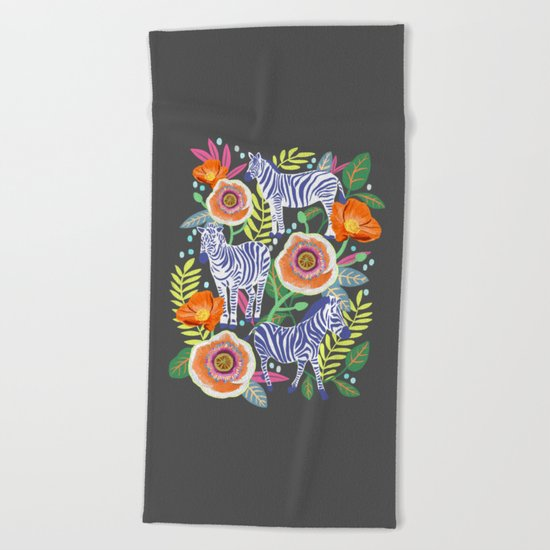 Zebra Idea, zebra print, animal print, flower print  Beach Towel