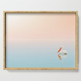WHITE PELICAN ON BODY OF WATER Serving Tray