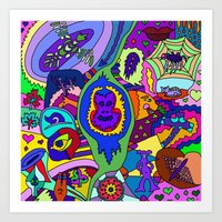 psychadelic Art Prints featuring Abstract 18 by Linda Tomei
