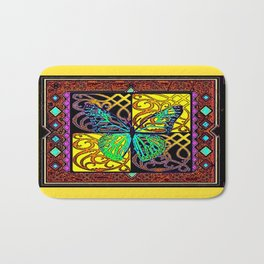 Old Style Buttefly Wood Block Yellow-Green-Brown  Print Bath Mat