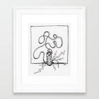 sneaker Framed Art Prints featuring Sneaker Snake by Leslie Buccino