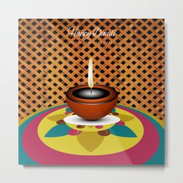 Oil Lit Lamp On Rangoli Metal Print