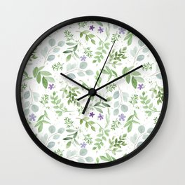Botanical forest green lavender watercolor floral Wall Clock