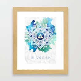 A Legendary Blue/Green Zelda Mandala Framed Art Print