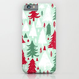 Mint, Red & Green Pine Trees iPhone Case