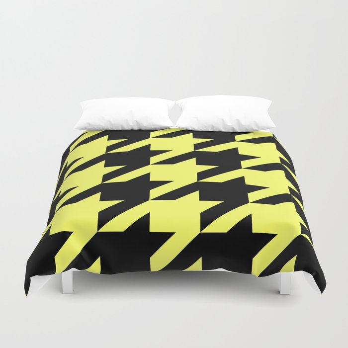 Baby Yellow Houndstooth Duvet Cover