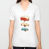 cars V-neck T-shirts featuring Classic cars by John Holcroft