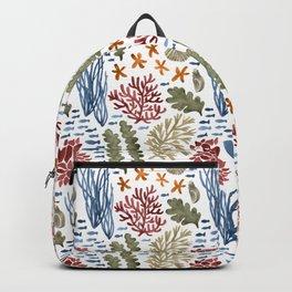 Coral Reef Watercolor Pattern- Maroon Backpack