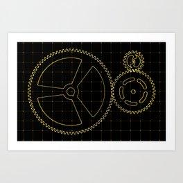 Set of orange gears and cogs on virtual screen Art Print