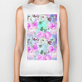Blush pink lilac lavender teal watercolor roses pattern Biker Tank