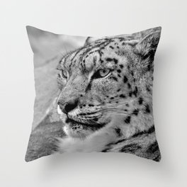 12,000pixel - 500dpi, High Quality Photograph - Snow Leopard IV - Black and white Throw Pillow