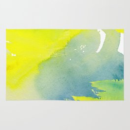 Modern hand painted yellow green blue watercolor brushstrokes Rug
