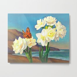 A Morning Greeting From Narcissus Flowers Metal Print