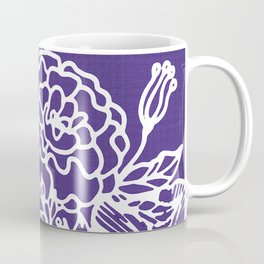 White Flowery Linocut Wreath On Checked UltraViolet Coffee Mug