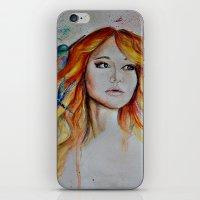 jennifer lawrence iPhone & iPod Skins featuring Jennifer Lawrence Watercolor (Light) by Halinka H