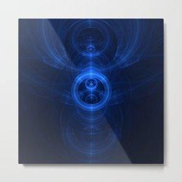 Symbol of Purpose - Beautiful Blue Blown Glass Sapphire Fractal Circles Metal Print