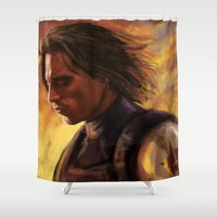 soldier Shower Curtains featuring The Soldier by rnlaing