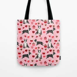 Bull Terrier valentines day love cupcakes hears dog breed pet friendly gifts Tote Bag