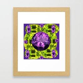 AMETHYST PURPLE  LIME GREEN PERIDOT GEMS BIRTHSTONES Framed Art Print