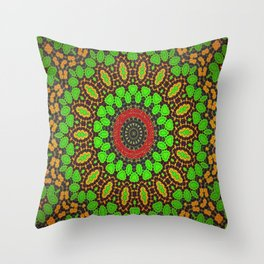 Lovely Healing Mandala  in Brilliant Colors: Green, Brown, Copper, and Maroon Throw Pillow