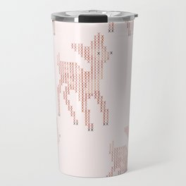 Little deer/fawn cross stitch pattern in pink Travel Mug