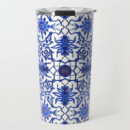 Art Nouveau Chinese Tile, Cobalt Blue & White Travel Mug
