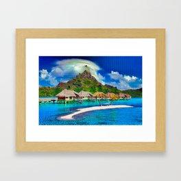 Beautiful Beach Cabanas Framed Art Print
