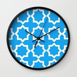 Blue and White Lattice Design Wall Clock