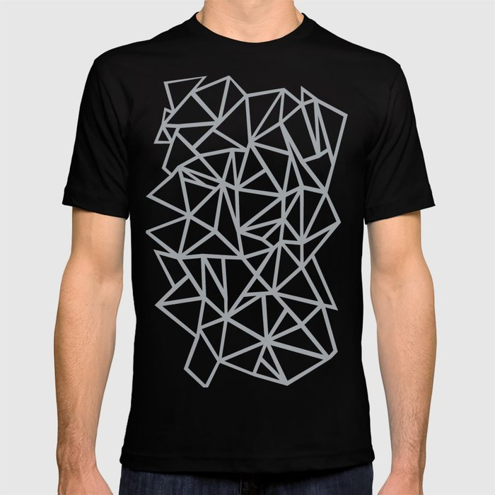03b88aebf3a5 Abstract Outline Thick White on Grey T-shirt by projectm | Society6