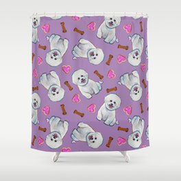 Bichon Frise Love Pattern on Lavender Shower Curtain
