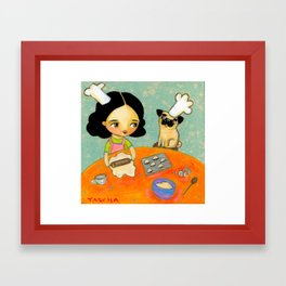 Kitchen Art Pug dog helps make perogies cute food art poster painting  by Tascha Framed Art Print