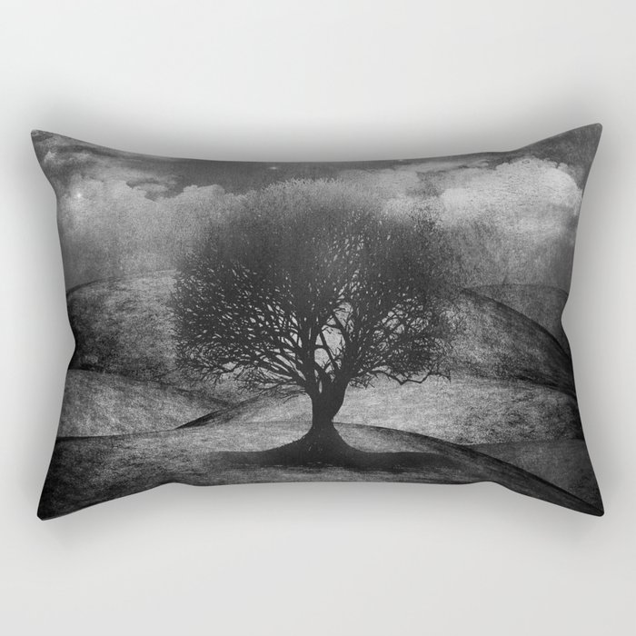 Black and white - Once upon a time... The lone tree. Rectangular Pillow