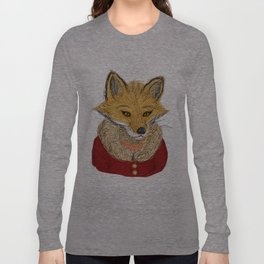 Sophisticated Fox Art Print Long Sleeve T-shirt