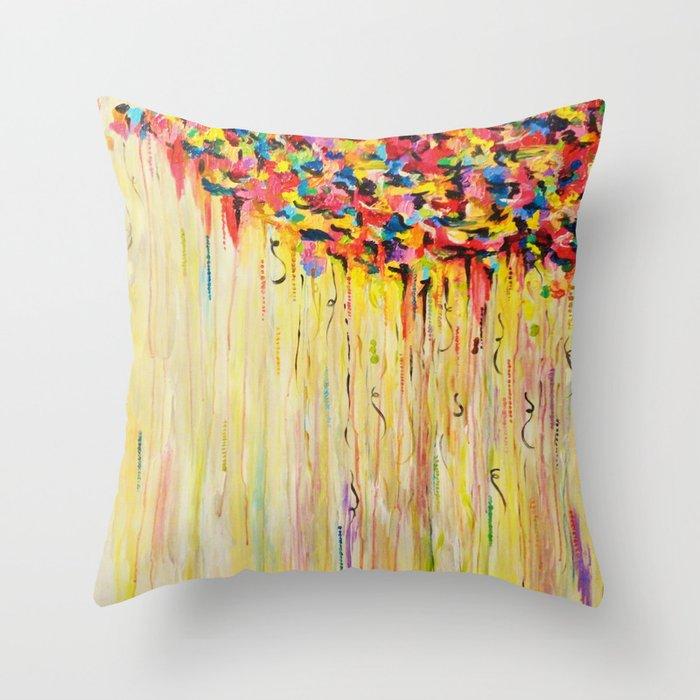 OPPOSITES LOVE Raining Sunshine - Bold Bright Sunny Colorful Rain Storm Abstract Acrylic Painting Throw Pillow