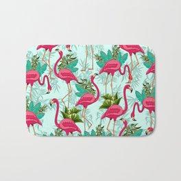 Pink Flamingos Exotic Birds Bath Mat